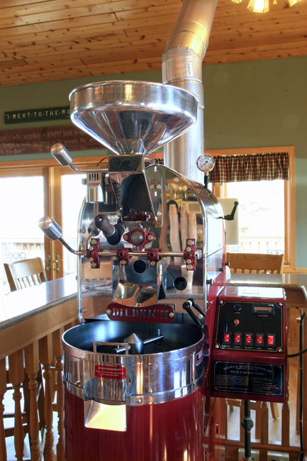 photo of shiny red and silver coffee bean roaster